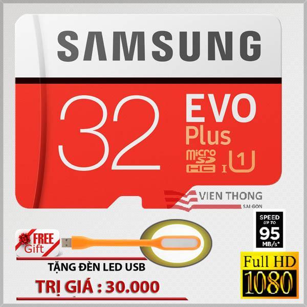 Thẻ nhớ 32gb tốc độ cao Up to 95mb/s MicroSDHC Samsung EVO Plus ( Màu đỏ )+ Đèn Led USB