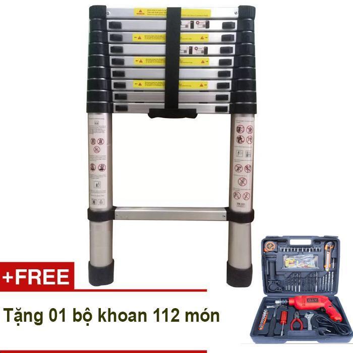 Thang rút nhôm Kachi 3.8 mét MK85 + Tặng bộ khoan đa năng DIY