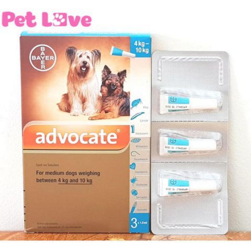 1 hộp Advocate (3 tuýp) nhỏ gáy trị giun, ghẻ, ve rận, bọ chét (chó từ 4 - 10kg)