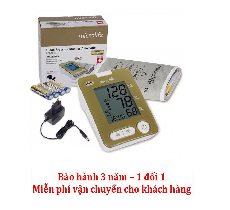 Máy đo huyết áp bắp tay Microlife BP3NM1-3E (Trắng phối vàng) nhập khẩu