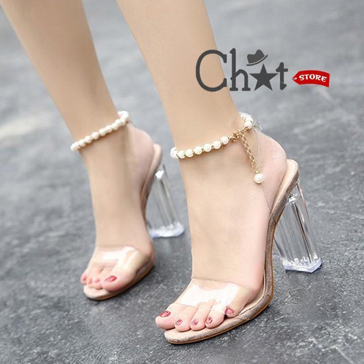 Offer Giảm Giá Giày Sandal Cao Gót Nữ Quai Ngang Trong Suốt