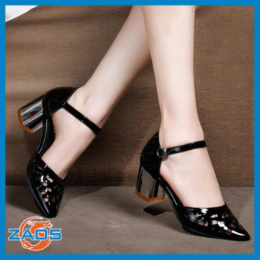 Giày cao gót nữ đẹp đế vuông hàng hiệu Rosata-mũi nhọn cắt lazer ZA05 giá rẻ