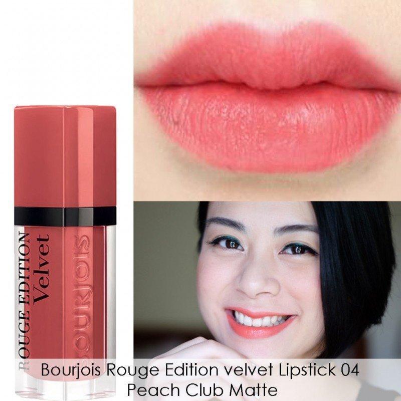Son kem lì Bourjois Rouge Edition Velvet màu 04 Peach Club cao cấp
