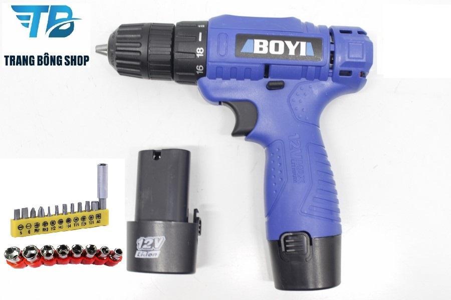 Máy khoan Pin BOYI 2 Pin + 20 chi tiết mũi vặn vít đa năng ( Xanh )