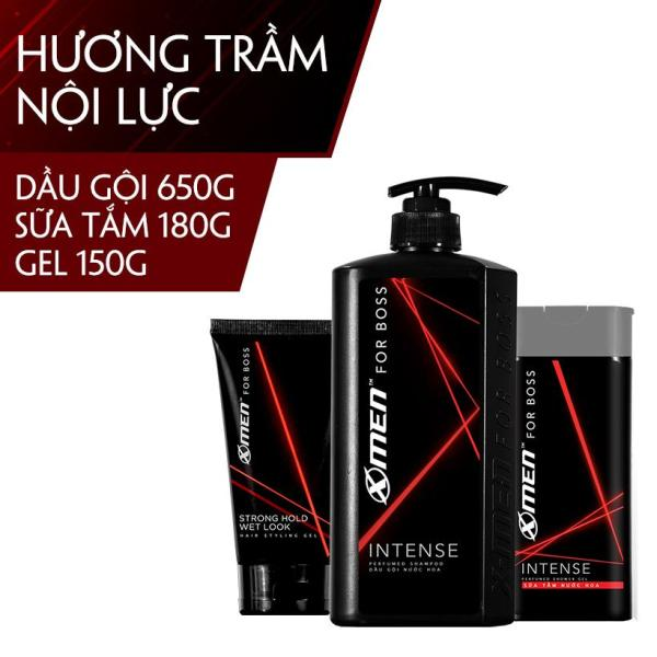Combo Dầu gội nước hoa X-Men for Boss Intense 650g + Sữa tắm nước hoa Xmen for Boss Intense 180g + Gel vuốt tóc X-men For Boss Strong Hold Wet Look 150g nhập khẩu