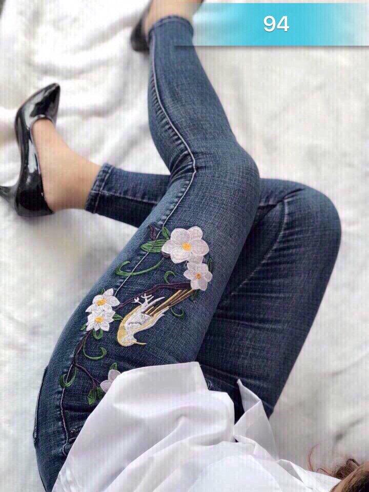 Mua Quần Jean Nữ Hoa Theu Cao Cấp Xanh Phong Cach Trẻ Trung Luly Fashion Trực Tuyến Rẻ