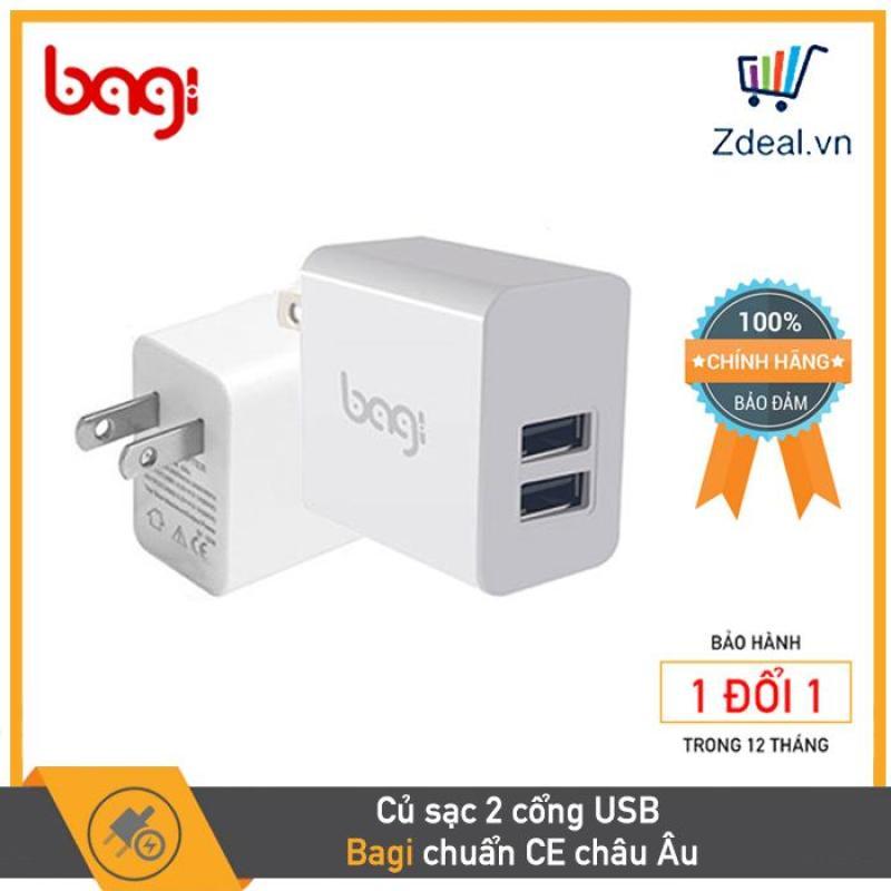 CỦ  CỐC SẠC NHANH BAGI CE-M23, 2 CỔNG USB, TIÊU CHUẨN CE