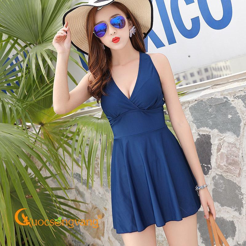 Nơi bán Đồ bơi một mảnh xanh biển váy đầm đi biển nữ GLSWIM039
