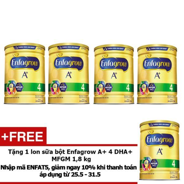 Bộ 4 lon Sữa bột Enfagrow A+ 4 DHA+ và MFGM 1,8 kg + Tặng 1 lon sữa bột Enfagrow A+ 4 DHA+ và MFGM 1,8 kg