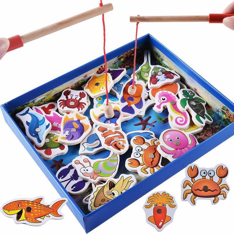 Hình ảnh Đồ chơi câu cá nam châm bằng gỗ (32 sinh vật biển)