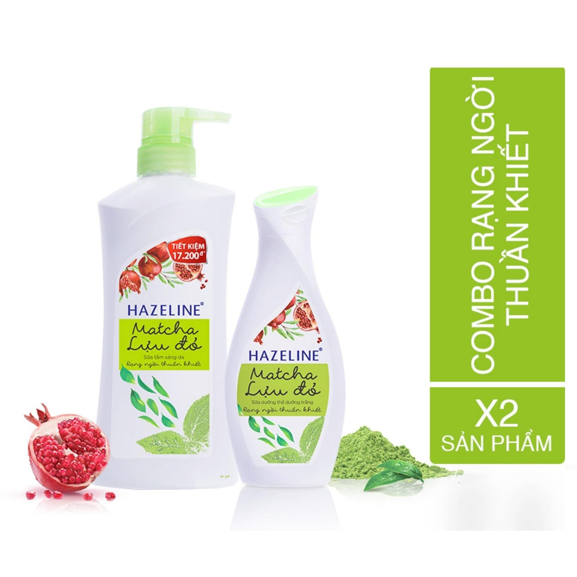 Bộ đôi dưỡng trắng cơ thể Hazeline Matcha - Lựu đỏ (Sữa tắm Hazeline 700g + Sữa dưỡng thể 230ml)