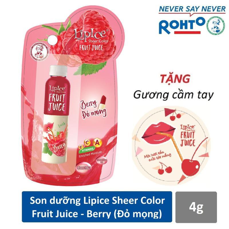 Son dưỡng chiết xuất trái cây Lipice Sheer Color Fruit Juice Berry 4g (Đỏ Mọng) + Tặng gương cầm tay xinh xắn cao cấp