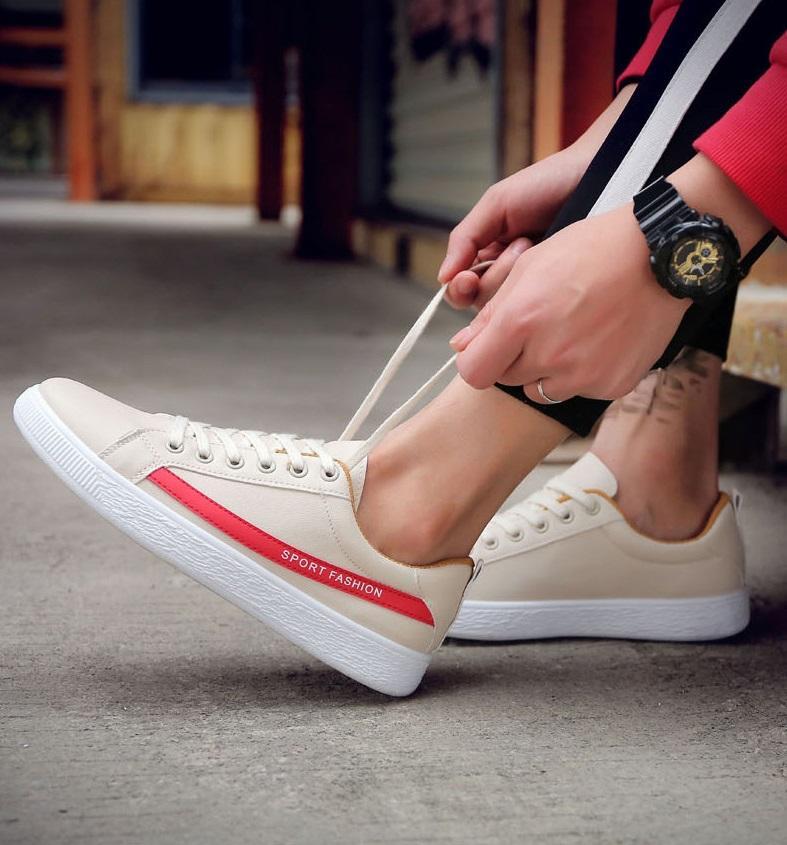 GIẦY SNEAKER DA Kẻ SPORT FASHION ( TRẮNG SỮA - ĐỎ ) - HOT TREND Giày thể thao/Giày nam phong cách Korea 2018, dễ kết hợp, mẫu mới nhất ( NEW ARRIVAL ) - LEADER MAN