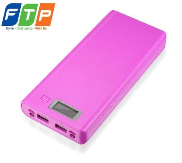 Hộp đựng pin dự phòng FTP 8 cell có màn LCD hiển thị (Tím)