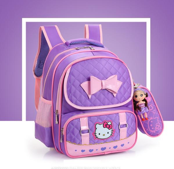 Giá bán Balo đi học Balo cho bé gái cao cấp thiết kế mèo Kitty chống gù lưng TẶNG KÈM VÍ và BÚP BÊ Siêu Dễ Thương KDR-BL024 Kodoros