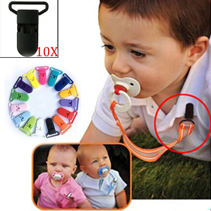 SBY 10pcs Colored Plastic Suspender Soother Pacifier Holder Dummy Clips For Baby Chain Ribbon New