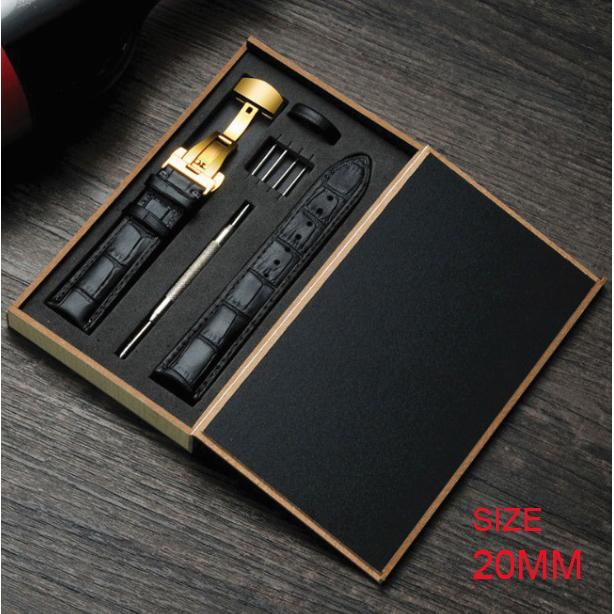 Hình ảnh Dây đồng hồ da bò cao cấp tặng Hộp Gỗ SIZE 20mm ( Da ĐEN) kèm khóa bướm thép không gỉ 316L (VÀNG)