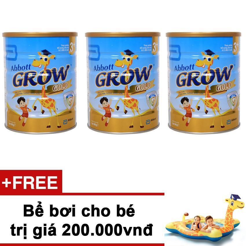 Bộ 3 lon Sữa bột Abbott Grow Gold 3+ Hương Vani 900g + Tặng bể bơi cho bé trị giá 200.000vnđ