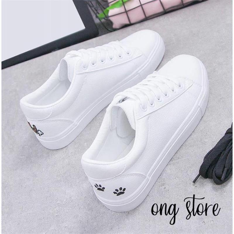 (hàng cao cấp) Giày thể thao nữ giày sneaker nữ thêu mèo xinh xắn (mèo gót đen)