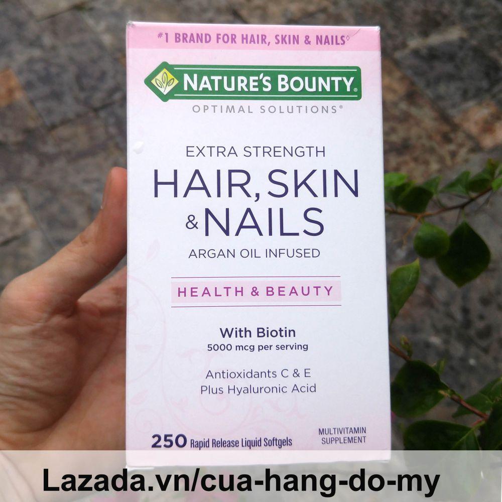 Thực phẩm  Đẹp Da, Tóc, Móng Go Hair Skin Nail Gummies Natures Bounty Argan Oil Infused Health & Beauty with Biotin 5000 mcg Antioxidant C & E Plus Hyaluronic Acid 250 Viên Vitamin tổng hợp dành cho sắc đẹp