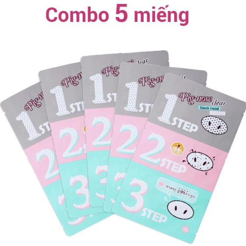 COMBO 5 Mặt Nạ Lột Mụn Đầu Đen 3 Bước Holika Holika Pig Nose Clear Black Head 3-Step Kit - 30ml nhập khẩu