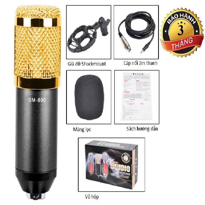 Hình ảnh Micro Thu Âm BM800 kèm Giá đỡ Sockmount , Cáp âm thanh, bông lọc mic (màu ngẫu nhiên)