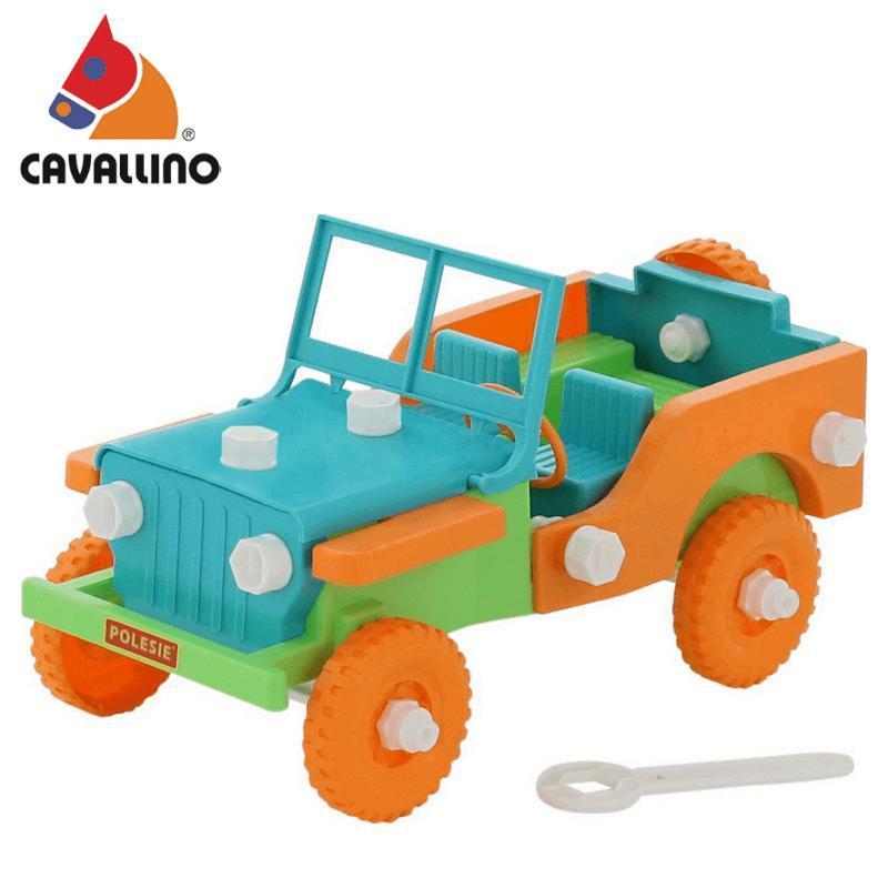 Bộ lắp ghép xe Jeep Retro 42 mảnh – Cavallino Toys Màu xanh dương