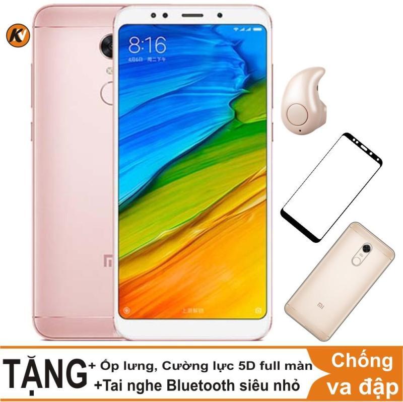 Xiaomi Redmi 5 Plus 32GB Ram 3GB Khang Nhung (Hồng) + Ốp lưng + Cường lực 5D full màn (Trắng) + Tai nghe Bluetooth siêu nhỏ