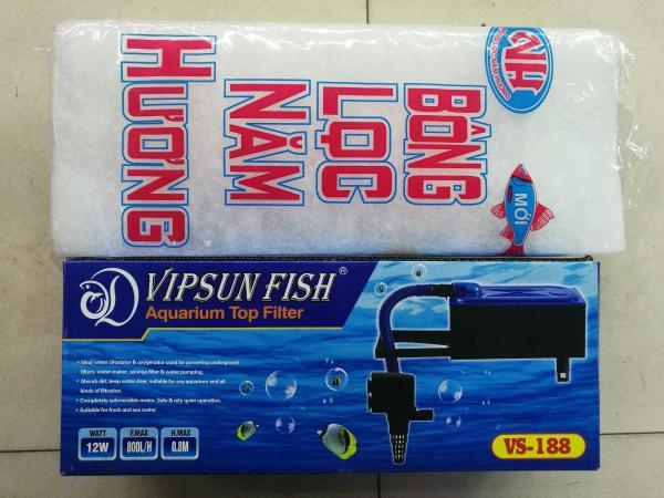 Máy Bơm Lọc Nước Hồ Cá VS188 & Bông Lọc - Bộ Bơm Lọc Nước Bể Cá Vipsun