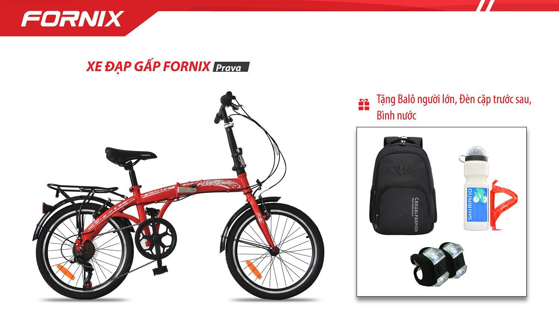 Xe đạp gấp hiệu FORNIX, mã PRAVA   + tặng balo, đèn trước sau, bình nước