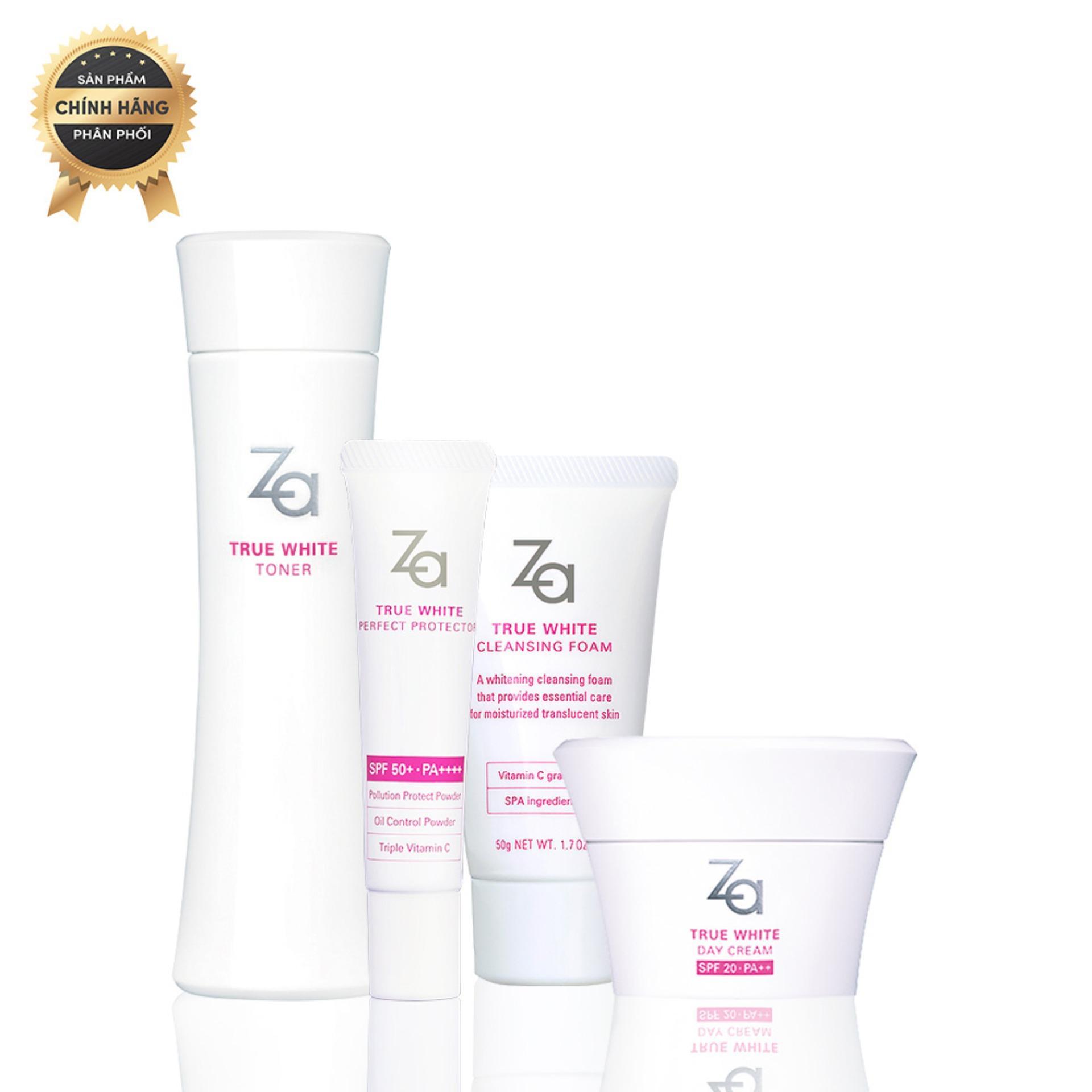 Hình ảnh Combo bảo vệ và dưỡng trắng da ban ngày Za True White (Foam 50g + Toner 150ml + Protector 15g + Day Cream 40g)