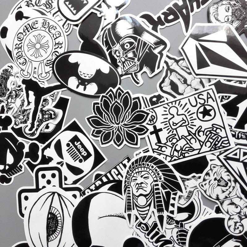 Hình ảnh Gói 20 Sticker Ngẫu Nhiên Trắng Đen Dán Laptop Mũ Bảo Hiểm