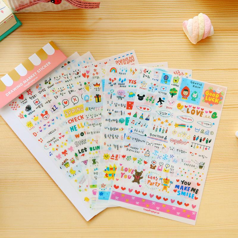 Mua 6 Sheets / Pack Kawaii Cute Drawing Market Planner Paper Diary Deco Stickers Pvc Transparent Scrapbooking - intl