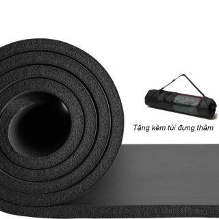 Thảm tập Yoga loại siêu bền, dày 10mm TPE - Tặng kèm túi đựng thảm (Màu đen) thumbnail