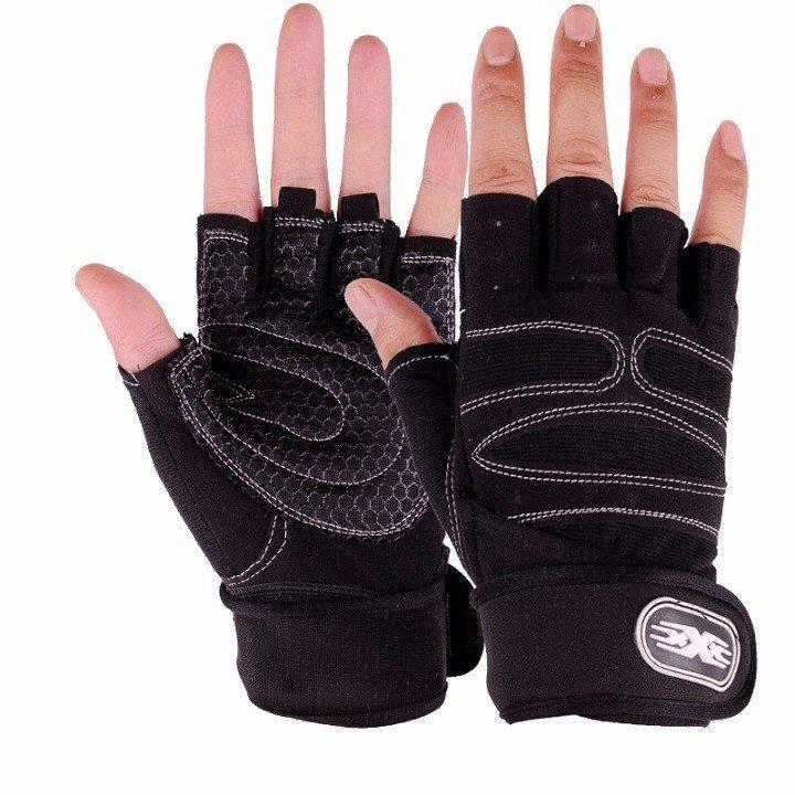 Găng tay tập gym có đai bảo vệ cổ tay Tặng kèm Găng tay chống nắng Hàn Quốc
