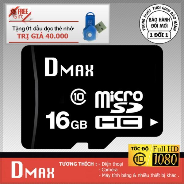 Thẻ nhớ 16GB Dmax Micro SDHC class 10+Tặng đầu đọc micro PT