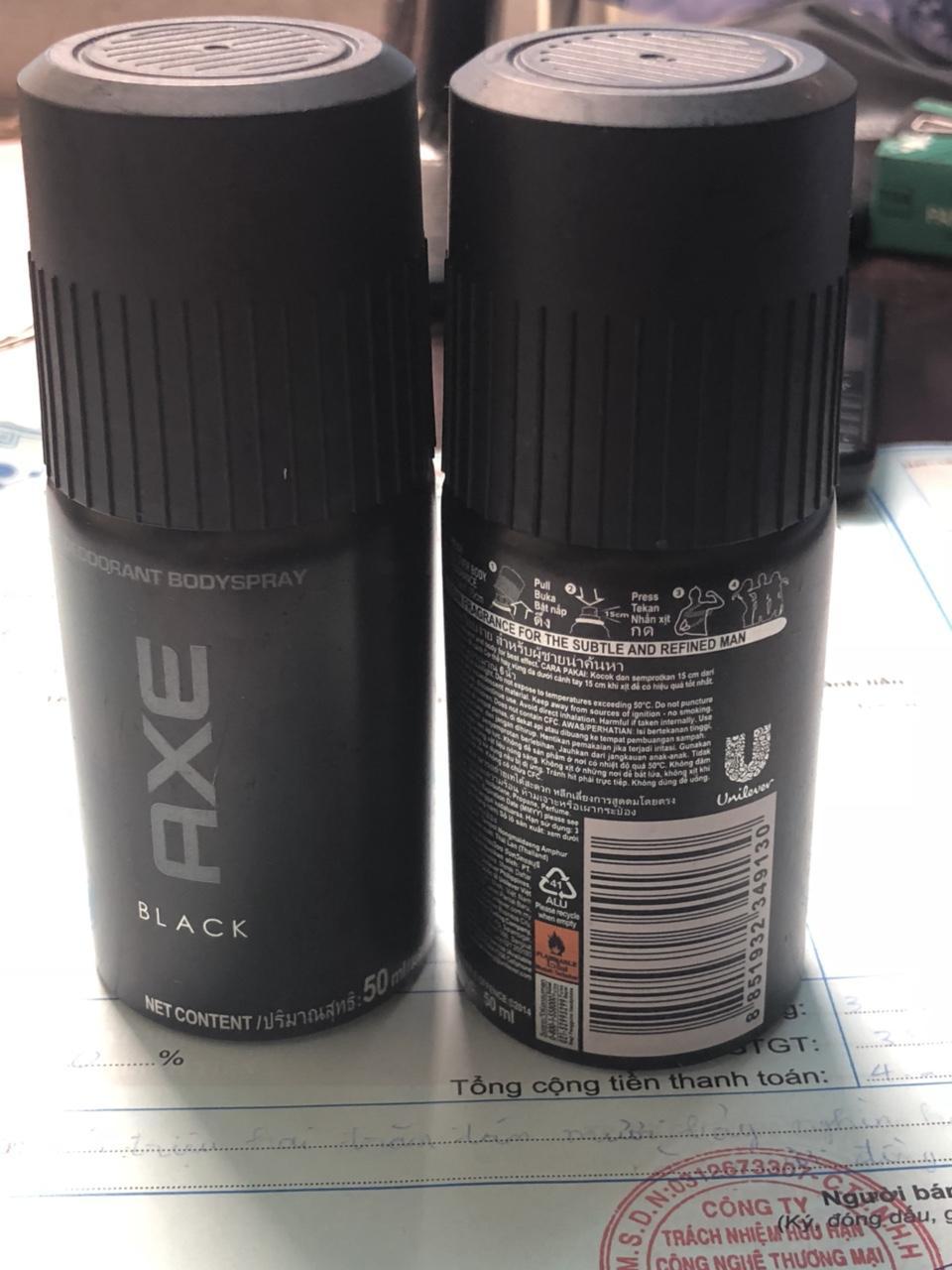 ComBo 2 Chai Xịt khử mùi Toàn Thân AXE Black 50ml nhập khẩu