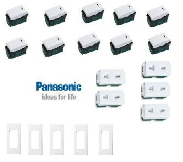 Hình ảnh COMBO = THIẾT BỊ ĐIỆN PANASONIC - WEV5001SW (CÔNG TẮC) + WEV68030SW (MẶT 3) + WEV1081SW (Ổ CẮM ĐƠN)