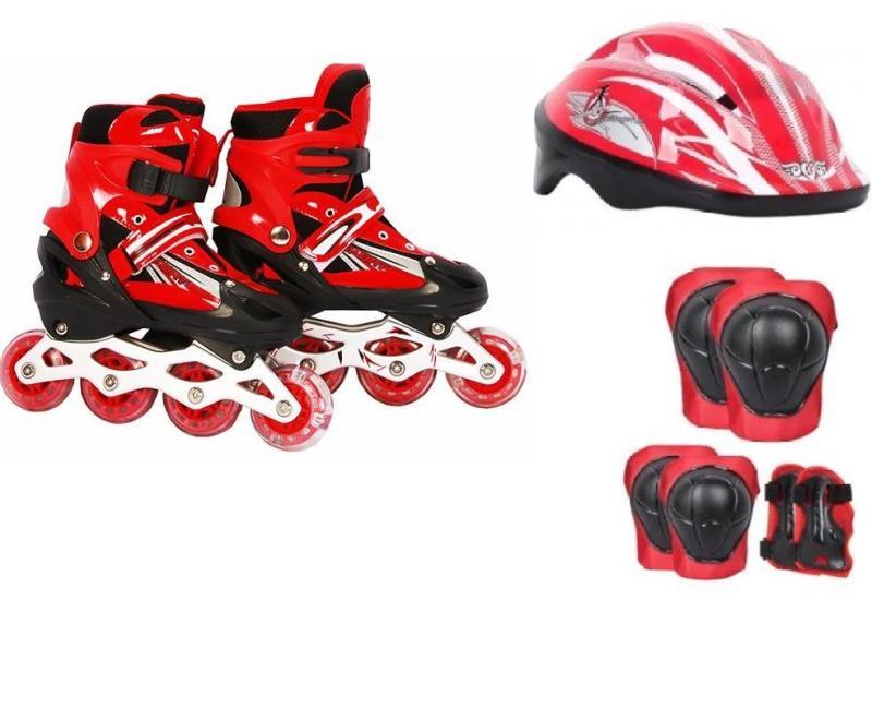 Phân phối Bộ đồ chơi patin  ( giày trượt + bảo vệ tay chân + nón bảo hộ )  size L 38-42 ( ĐỎ )