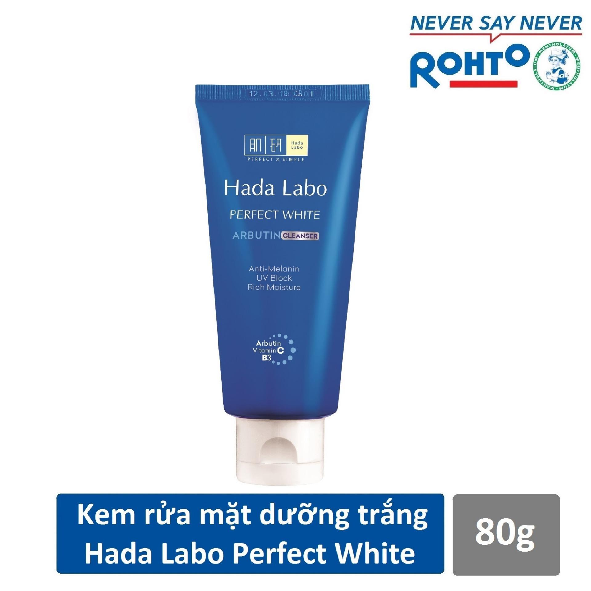 Kem rửa mặt dưỡng trắng Hada Labo Perfect White Cleanser 80g chính hãng