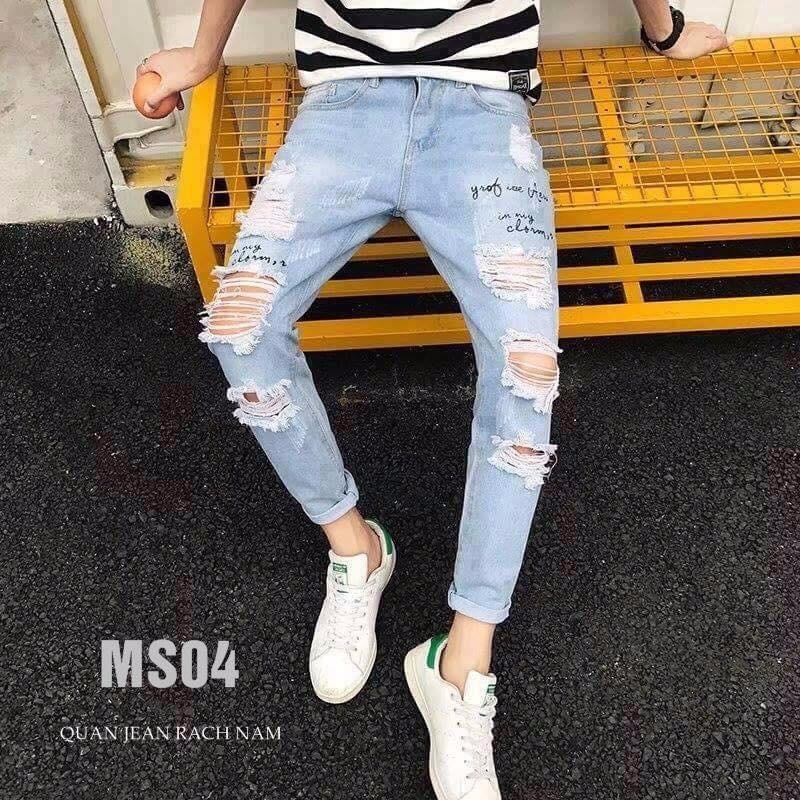 Hình ảnh Quần Jean Nam Rách , Vải jean dày co giãn tốt - B54