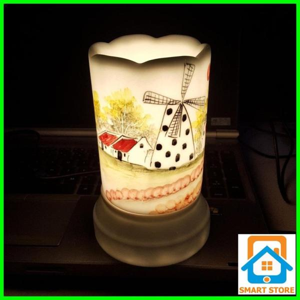 Đèn xông tinh dầu sứ Bát Tràng hình Ống cỡ TO 9 x 16,5cm / Đuổi muỗi Diệt muỗi Đèn trang trí SS37