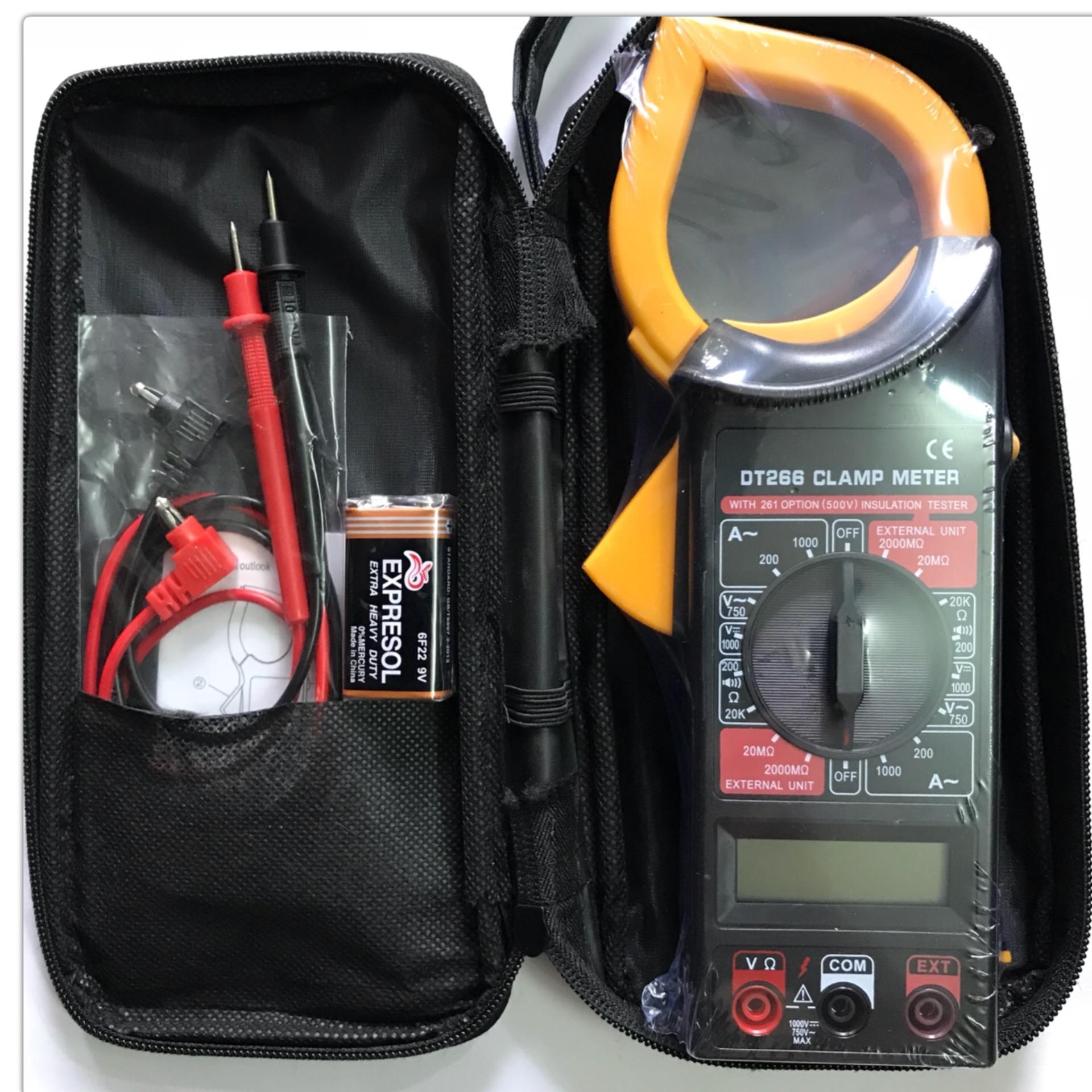 AMPE Kìm, kẹp vạn năng kỹ thuật số đo điện DT 266 - Tặng kèm pin vuông 9V-6F22