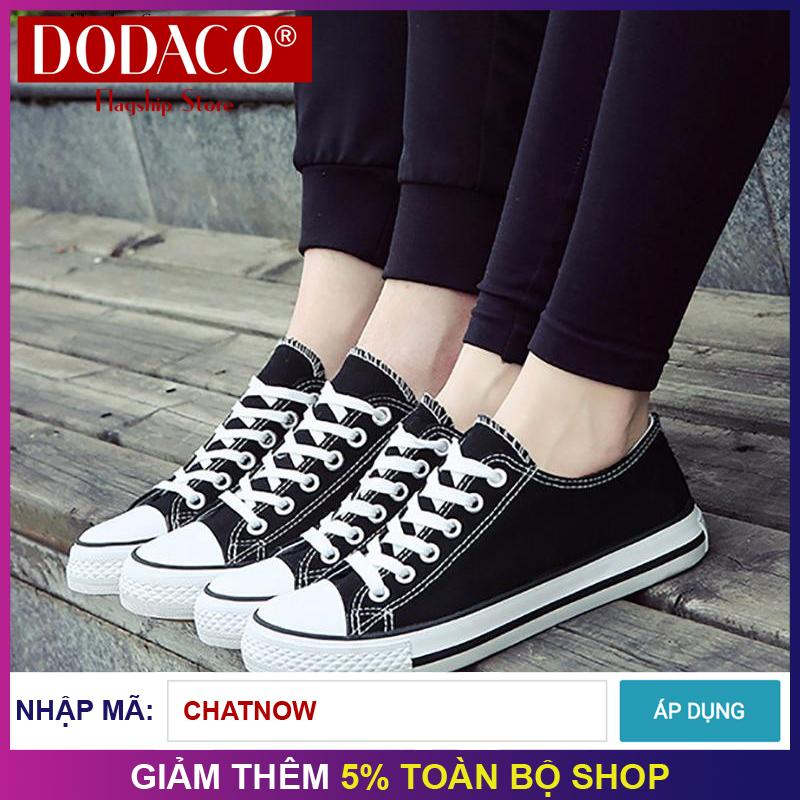 Hình ảnh Giày sneaker vải cặp nam nữ unisex thời trang DODACO LNS0001 (Đen Đỏ Xanh Trắng)