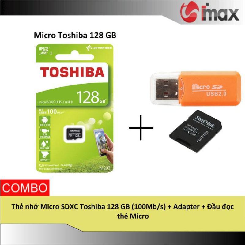 Thẻ nhớ Micro SDXC Toshiba 128 GB (100Mb/s) + Adapter + Đầu đọc thẻ Micro