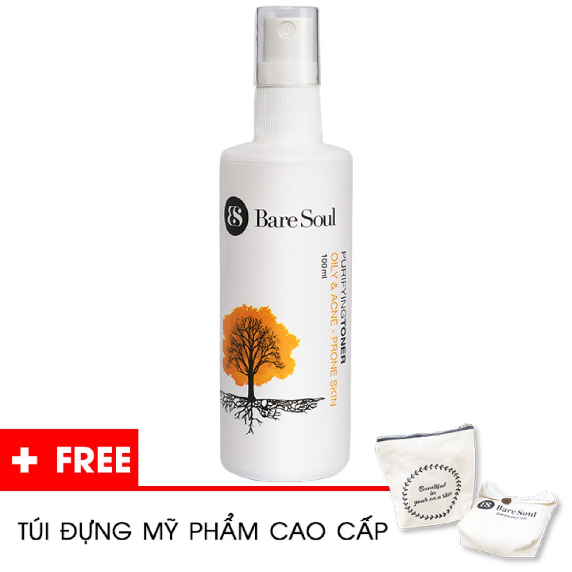 Nước hoa hồng thanh lọc BareSoul – Da dầu và trị mụn 100ml – Hàng chính hãng – Purifying Toner Oily & Acne Prone Skin + Tặng túi mỹ phẩm cao cấp nhập khẩu