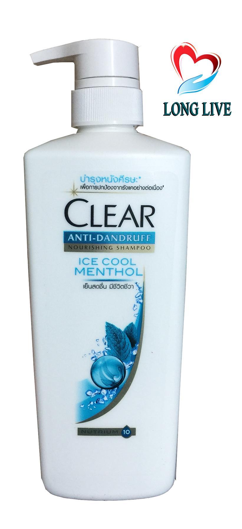 Dầu gội Thái Lan Clear Ice Cool Menthol bạc hà mát rượi 480ml