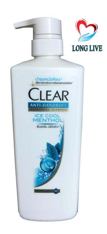 Dầu gội Thái Lan Clear Ice Cool Menthol bạc hà mát rượi 480ml nhập khẩu