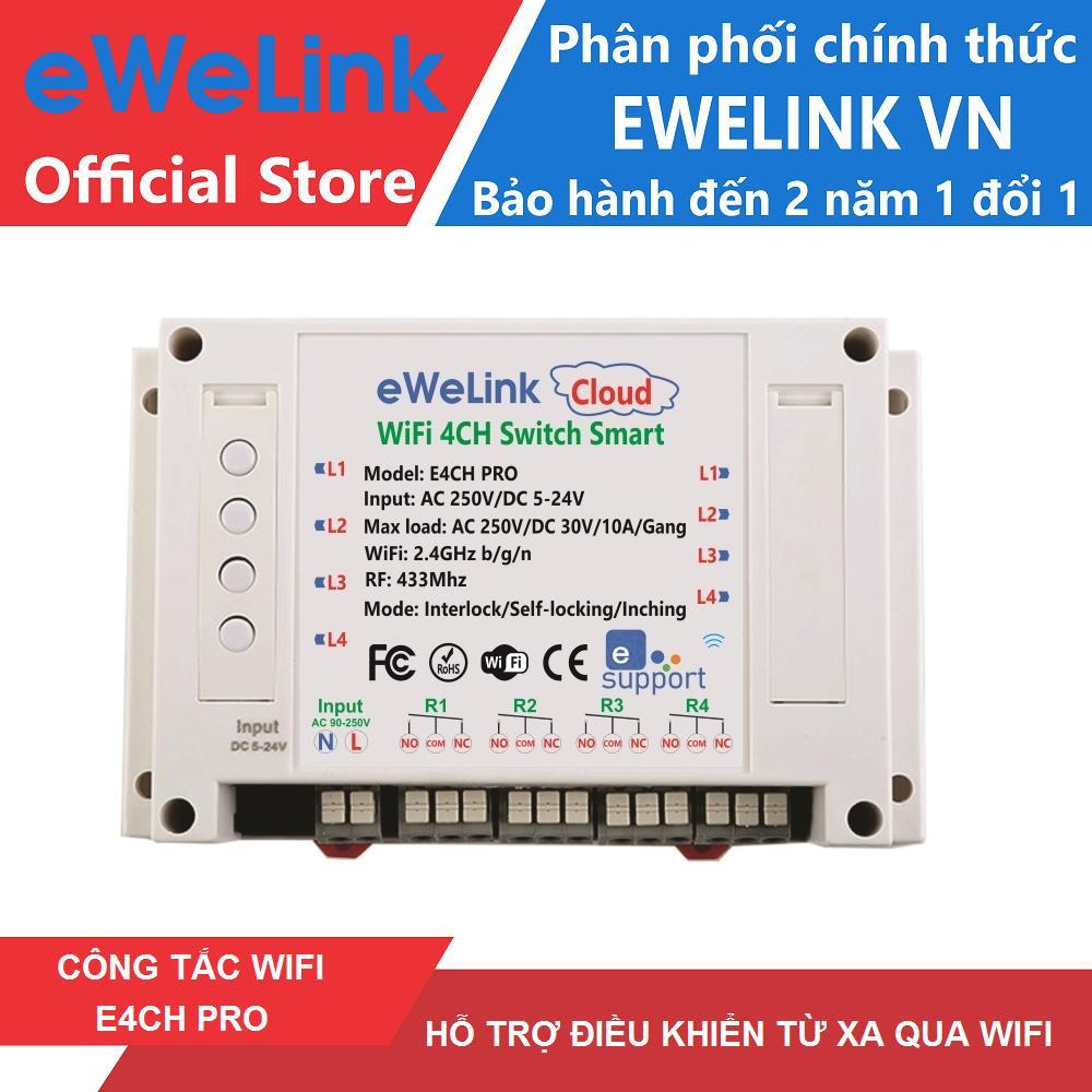 Hình ảnh Công Tắc WiFi Thông Minh 4 Cổng Hỗ Trợ RF eWeLink E4CHP