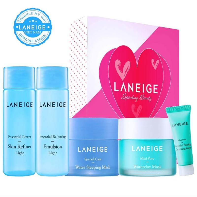 Bộ 5 sản phẩm chăm sóc chuyên sâu da dầu và hỗn hợp nhờn Laneige Mini Pore Care Trial Kit